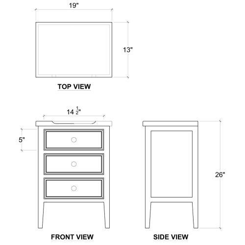 Eton 3 Drawer End Table