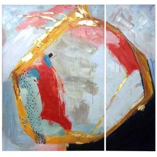 Product Image - Set of 2 Contemporary Textured & Hand Embellished Canvases