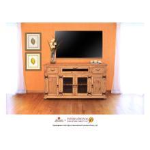 """View Product - 63"""" TV Console w/2 Glass doors & 2 Solid wood doors, 2 drawers & 1 Landscape door"""