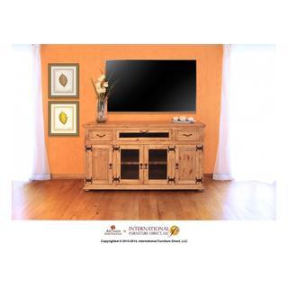 """See Details - 63"""" TV Console w/2 Glass doors & 2 Solid wood doors, 2 drawers & 1 Landscape door"""