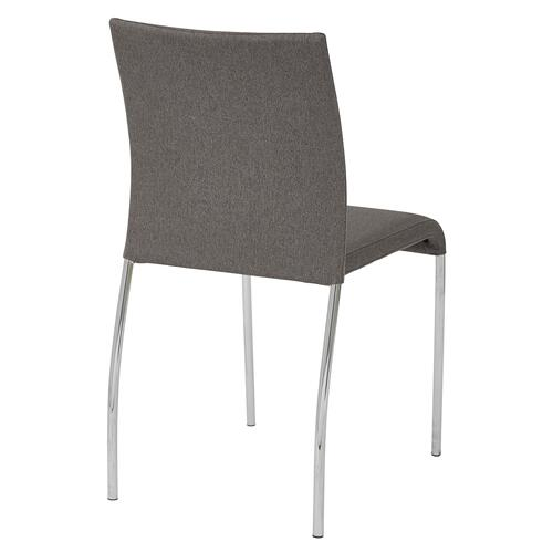 Conway Stacking Chair In Smoke Fabric, Fully Assembled, 4-pack