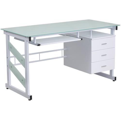 Flash Furniture - White Computer Desk with Frosted Glass Top and Three Drawer Pedestal