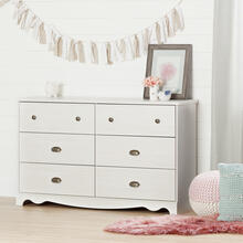 6-Drawer Double Dresser - White Wash