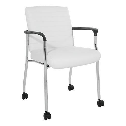 Guest Chair With Casters In White Faux Leather With Chrome Frame