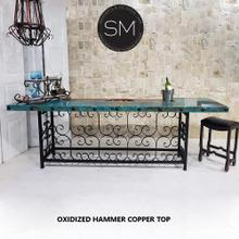 See Details - Oxidized Hammered Copper bar Table
