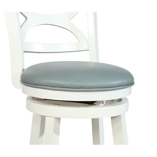 Upholstered Faux Leather and Round Foot Rest Counter Stool, Cream
