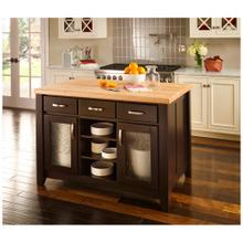 """See Details - 52-1/2"""" Black Contemporary Furniture-Style Kitchen Island"""