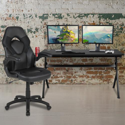 Gallery - Gaming Desk and Black Racing Chair Set \/Cup Holder\/Headphone Hook\/Removable Mouse Pad Top - 2 Wire Management Holes