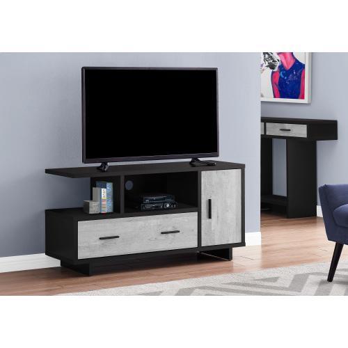 "Gallery - TV STAND - 48""L / BLACK / GREY RECLAIMED WOOD-LOOK"