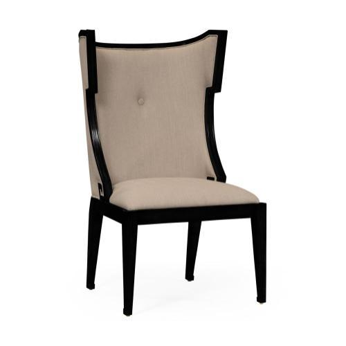 Greek key design Biedermeier black side chair