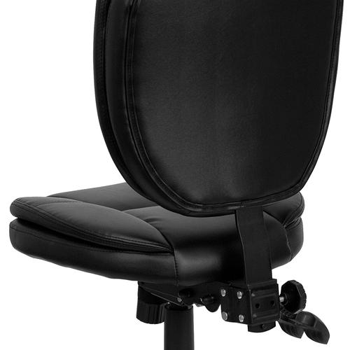 Gallery - Mid-Back Black LeatherSoft Multifunction Swivel Ergonomic Task Office Chair with Pillow Top Cushioning