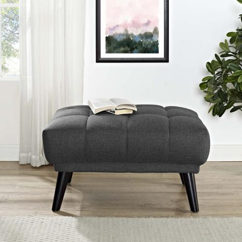 Bestow Upholstered Fabric Ottoman in Gray