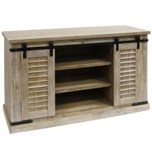 BISQUE  52in w X 32in ht X 18in d  Sliding Barn Door Pine Media Console with Removable Shelves