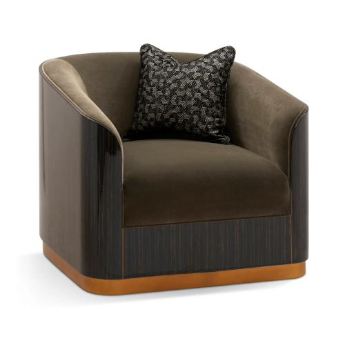 "36"" Fusion Curved Macassar Ebony & Brass Sofa Chair, Upholstered in Fusion Velvet"