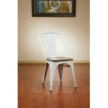 Bristow Metal Chair With Vintage Wood Seat, White Finish Frame & Ash Crazy Horse Finish Seat