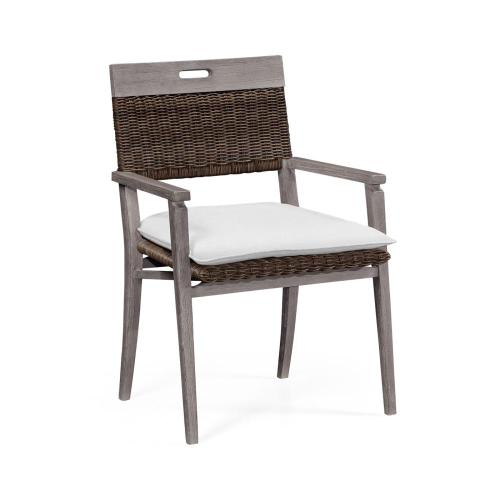 Outdoor Rattan Chair with Cushion, Upholstered in COM