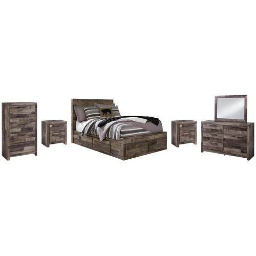 Ashley - Full Panel Bed With 6 Storage Drawers With Mirrored Dresser, Chest and 2 Nightstands