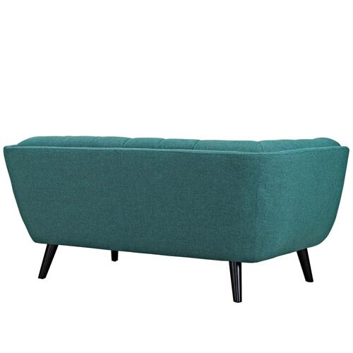 Bestow 3 Piece Upholstered Fabric Sofa Loveseat and Armchair Set in Teal