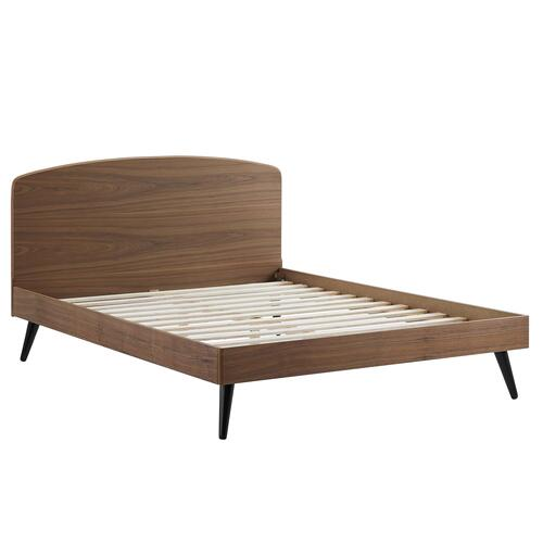 Bronwen King Wood Platform Bed in Walnut