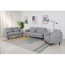 8152 3PC LIGHT GRAY Linen Stationary Basic Living Room SET