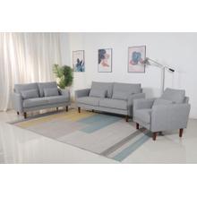 See Details - 8152 3PC LIGHT GRAY Linen Stationary Basic Living Room SET