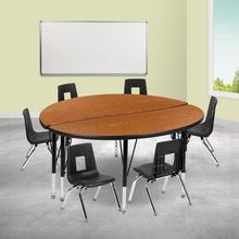 """47.5"""" Circle Wave Collaborative Laminate Activity Table Set with 14"""" Student Stack Chairs, Oak\/Black"""