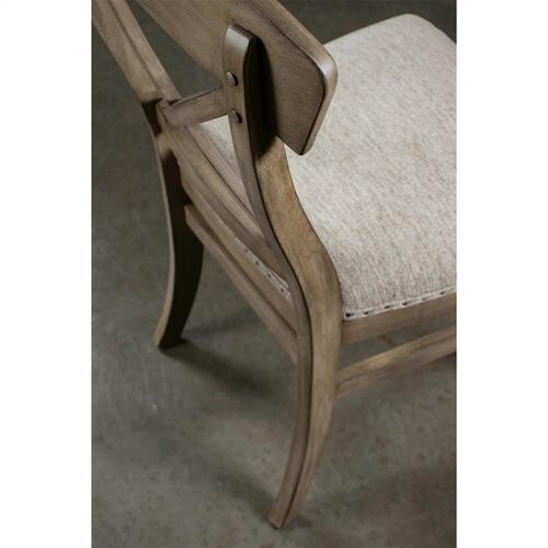 Southport - X-back Upholstered Side Chair - Antique Oak Finish