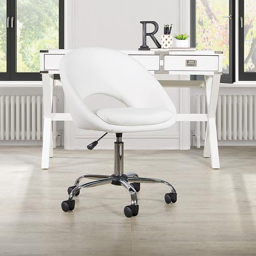 Milo Height Adjustable Home Office Chair In Durable White Faux Leather