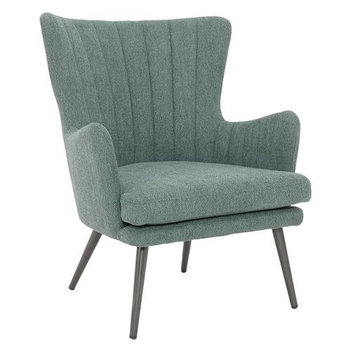 Jenson Accent Chair With Green Fabric and Grey Legs