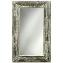 Antique White Weathered Wooden Frame Beveled Mirror