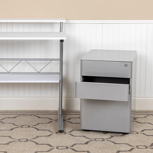 Flash Furniture - Modern 3-Drawer Mobile Locking Filing Cabinet with Anti-Tilt Mechanism and Hanging Drawer for Legal & Letter Files, Gray