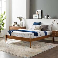 June Twin Wood Platform Bed Frame in Walnut