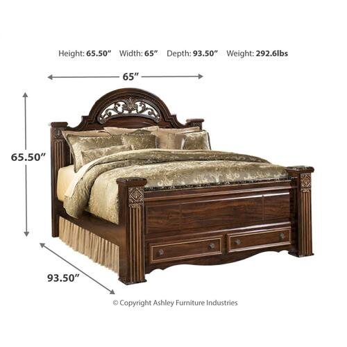 Gabriela Queen Poster Bed With 2 Storage Drawers