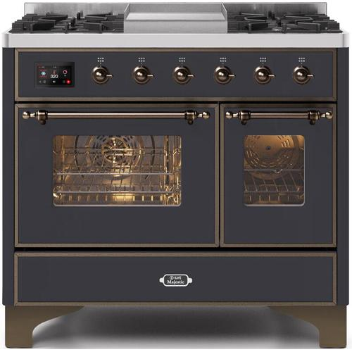 Majestic II 40 Inch Dual Fuel Natural Gas Freestanding Range in Matte Graphite with Bronze Trim