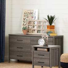 Gravity - 6-Drawer Double Dresser and Nightstand Set, Gray Maple