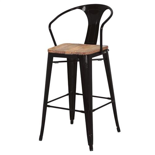 Metropolis Metal Bar Stool Wood Seat, Black