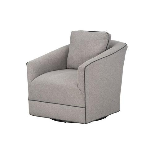 Nicolette Upholstered Swivel Chair, Cement with Graphite