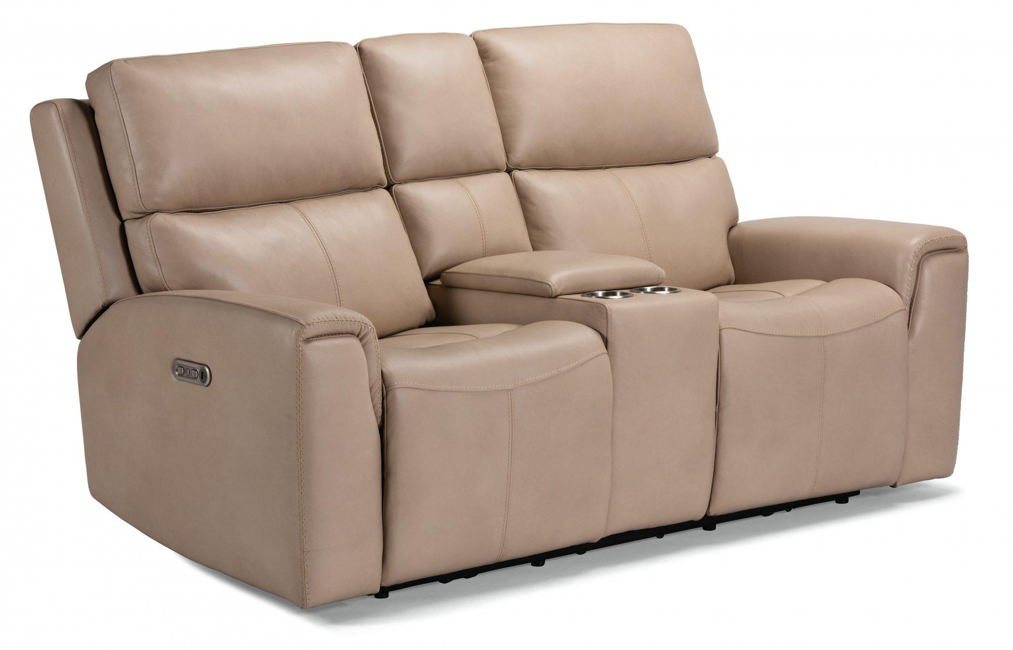 FlexsteelJarvis Power Reclining Loveseat With Console & Power Headrests