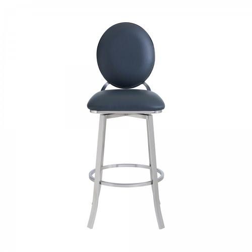 """Armen Living - Pia Contemporary 26"""" Counter Height Barstool in Brushed Stainless Steel Finish and Grey Faux Leather"""