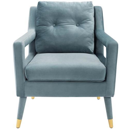 Premise Armchair Performance Velvet Set of 2 in Light Blue