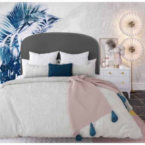 Vivi Grey Velvet Bed in Queen