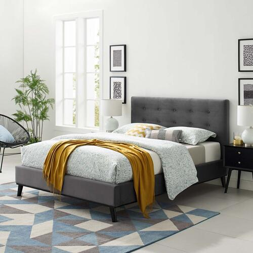 McKenzie Queen Biscuit Tufted Performance Velvet Platform Bed in Gray