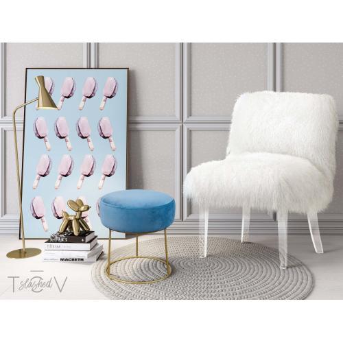Tov Furniture - Nina Blue Velvet Stool