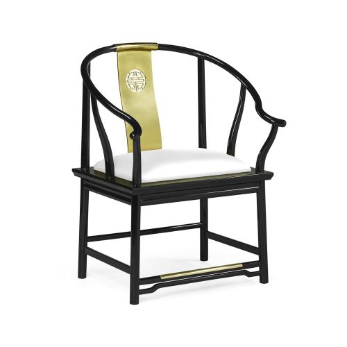 Asian Fusion Rounded Black Gloss & Brass Dining Arm Chair, Upholstered in COM