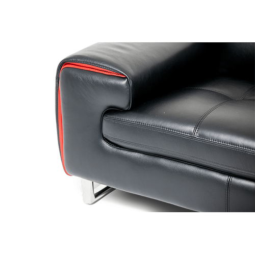 Magrena Leather Chair in Black w/Red St.Steel