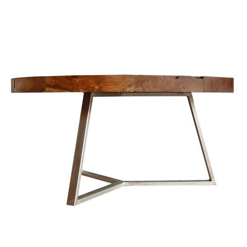 Leon Reclaimed Teak Wood Coffee Table Silver Frame, Natural