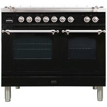 Nostalgie 40 Inch Dual Fuel Natural Gas Freestanding Range in Glossy Black with Chrome Trim
