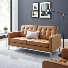 See Details - Loft Leather Loveseat in Tan
