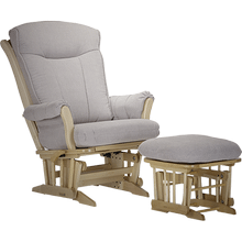 "This wood glider is part of the ""Grand Glider"" family and features a base with wooden dowels and outward tapered curved armrests."