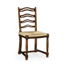 Ladder back walnut chair with pierced slats (Side)